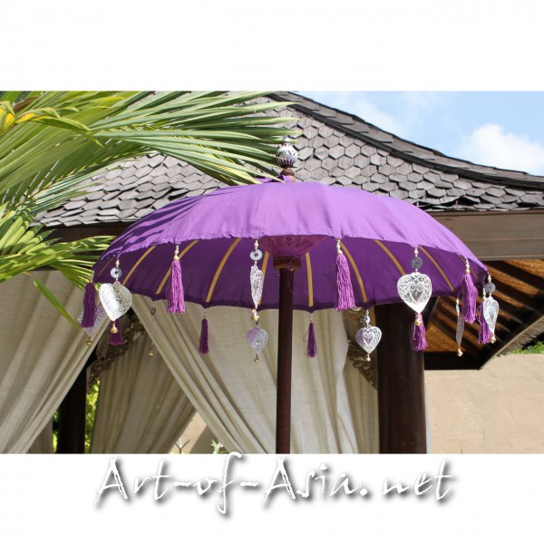 Bild 2 - Bali-Tempelschirm, 090cm Ø, Royal Purple / gold