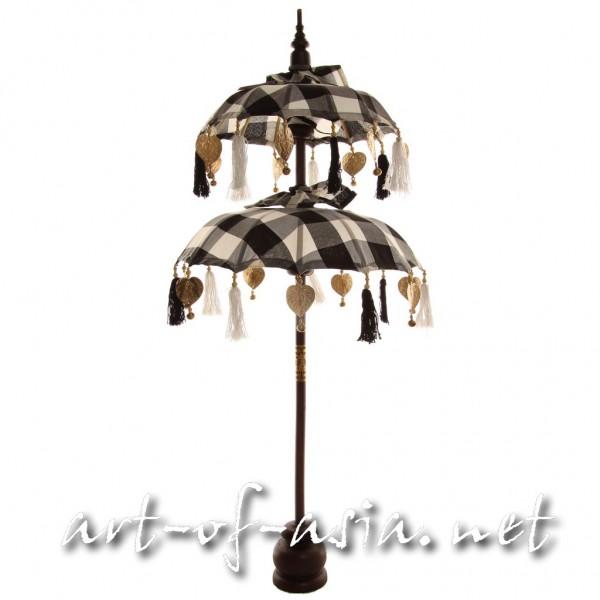 Bild 2 - Bali-Dekoschirm 2-fach, Black+White / gold