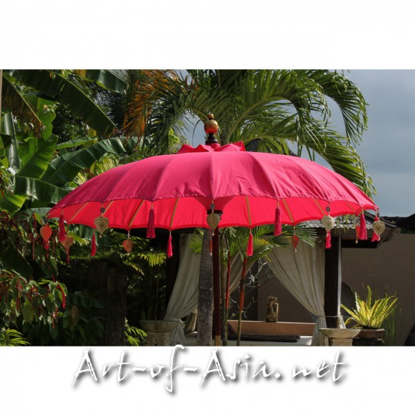Bild 2 - Bali-Sonnenschirm, 180cm Ø, Rose Red / silber
