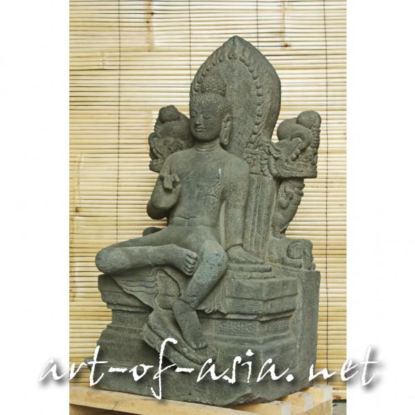 Bild 2 - Buddha, sitzend auf Thron, 095cm, schwarzer Lavastein, Lehrgeste
