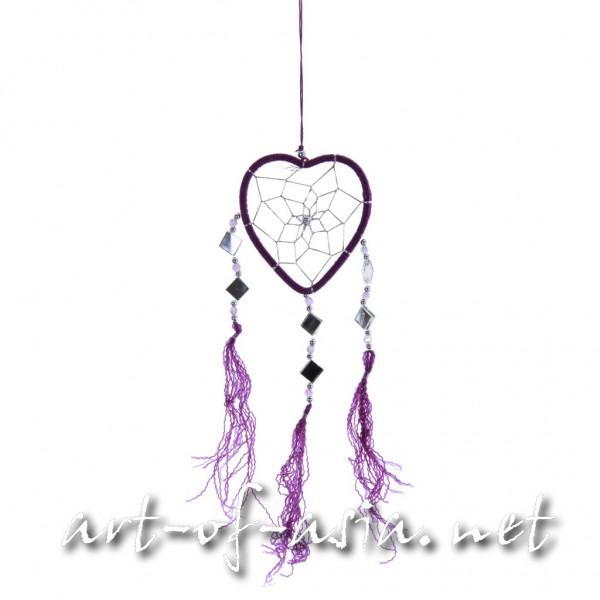 Bild 2 - Traumfänger, Herz, verschiedene Größen, Royal Purple
