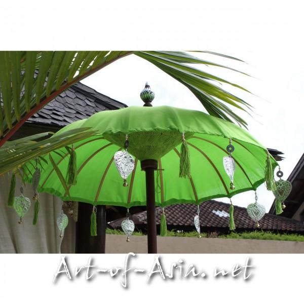Bild 2 - Bali-Tempelschirm, 090cm Ø, Bright Lime Green / silber