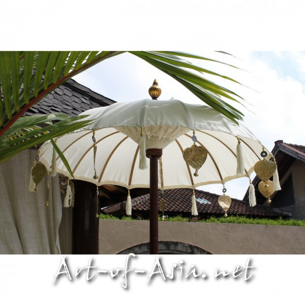 Bild 2 - Bali-Tempelschirm, 090cm Ø, Natur (creme) / gold