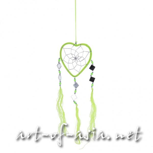 Bild 2 - Traumfänger, Herz, verschiedene Größen, Bright Lime Green