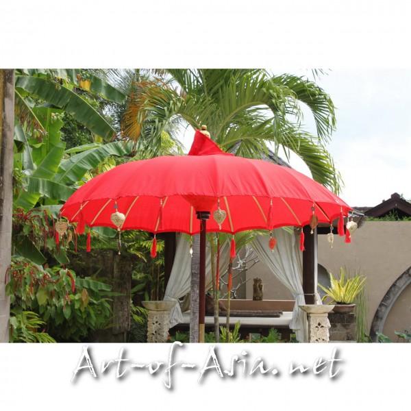 Bild 2 - Bali-Sonnenschirm, 180cm Ø, Chinese Red / silber