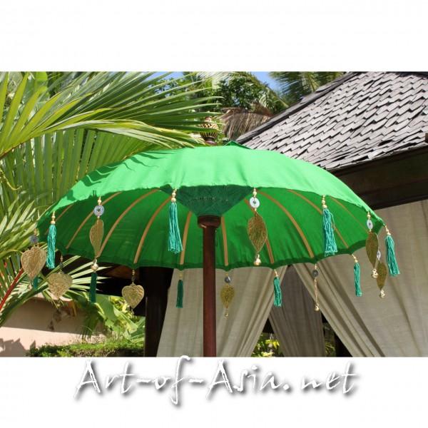 Bild 2 - Bali-Tempelschirm, 090cm Ø, Vibrant Green / silber