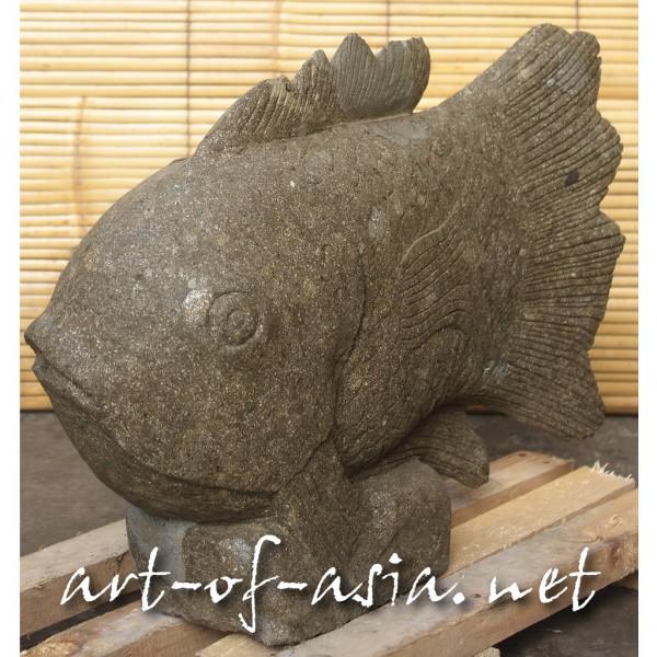 Bild 2 - Fisch, 059cm, grüner Lavastein, Kopf gerade