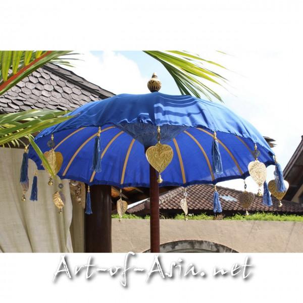 Bild 2 - Bali-Tempelschirm, 090cm Ø, Dazzling Blue / silber