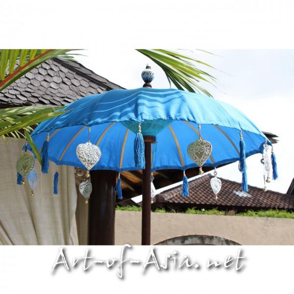 Bild 2 - Bali-Tempelschirm, 090cm Ø, Azur Blue / silber