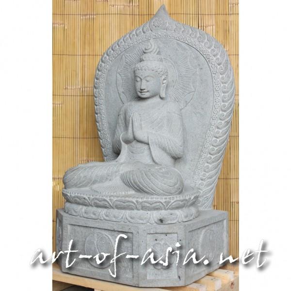 Bild 2 - Buddha, sitzend, 115cm, Flußstein, Begrüßungsgeste, mit Aureole, mit Sockel