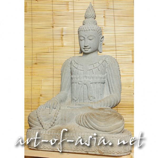 Bild 2 - Buddha, sitzend, 125cm, Flußstein, mit Kette