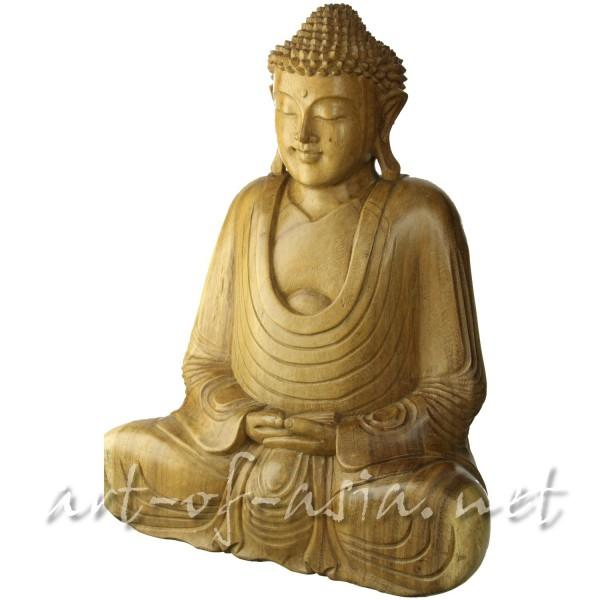 Bild 2 - Buddha, sitzend, 010cm bis 060cm, Suar-Holz, Meditationsgeste, natur