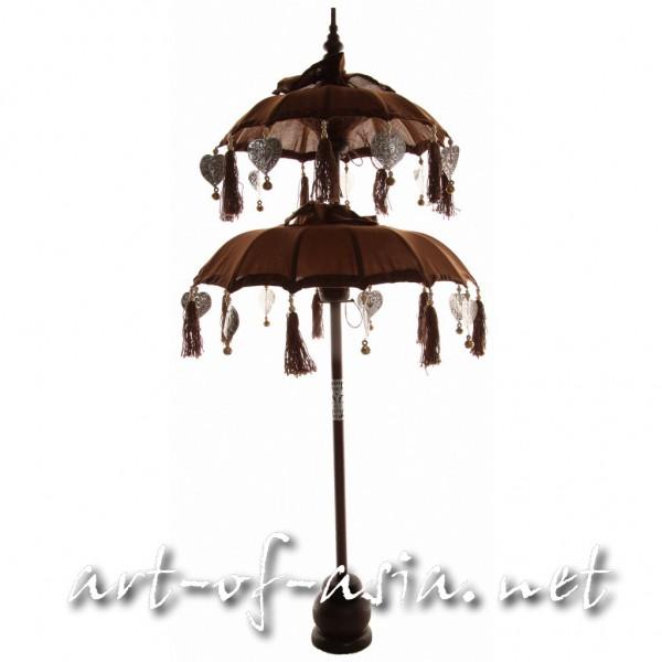 Bild 2 - Bali-Dekoschirm 2-fach, Deep Mahagony / silber