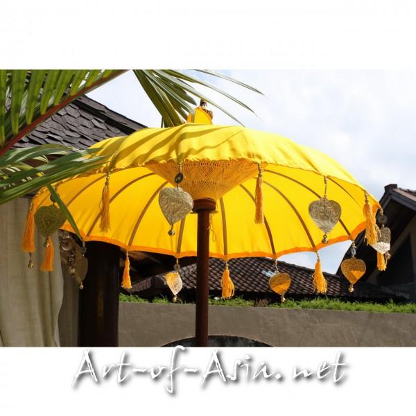 Bild 2 - Bali-Tempelschirm, 090cm Ø, Saffron / gold