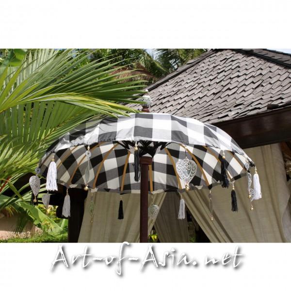 Bild 2 - Bali-Tempelschirm, 090cm Ø, Black+White / silber