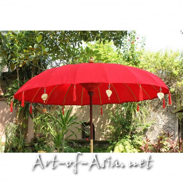 Bild 2 - Bali-Sonnenschirm, 220cm Ø, Chinese Red / silber