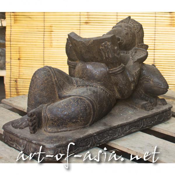 Bild 2 - Ganesha, liegend, 060cm, Flußstein, Antikfinish, mit Buch
