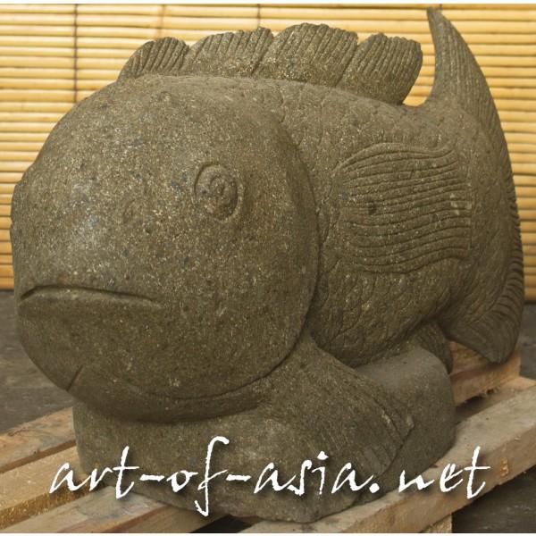 Bild 2 - Fisch, 063cm, grüner Lavastein, Kopf gerade