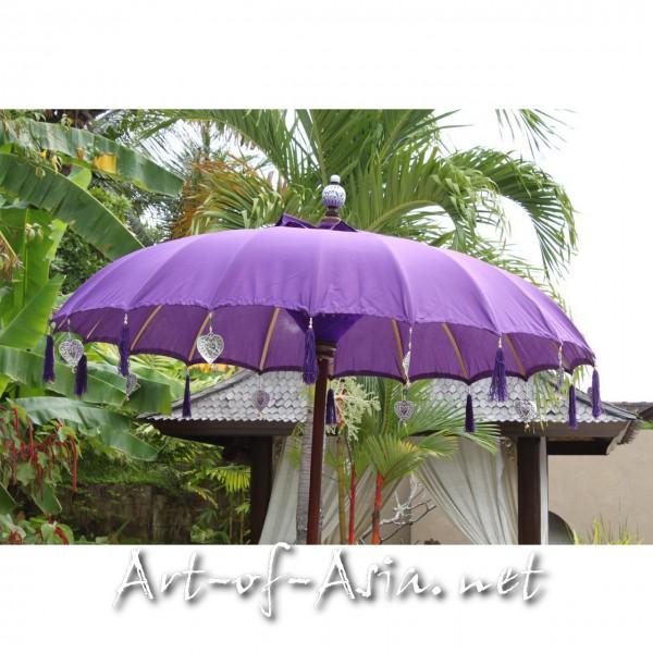 Bild 2 - Bali-Sonnenschirm, 180cm Ø, Royal Purple / gold
