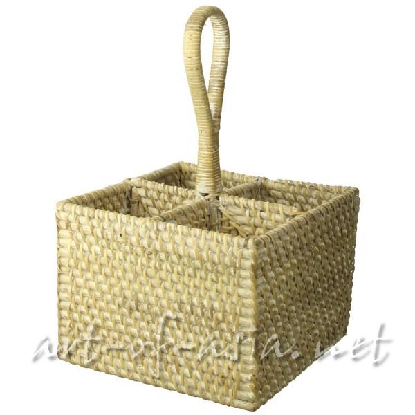 Bild 2 - Ménage / Besteckkorb, quadratisch, Rattan, natur