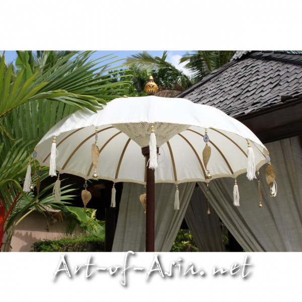 Bild 2 - Bali-Tempelschirm, 090cm Ø, Natur (creme) / silber