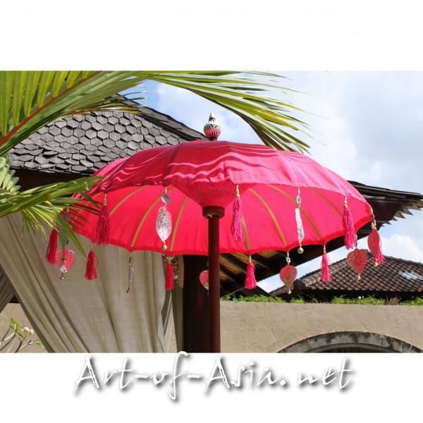 Bild 2 - Bali-Tempelschirm, 090cm Ø, Rose Red / gold