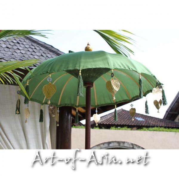 Bild 2 - Bali-Tempelschirm, 090cm Ø, Moss / gold