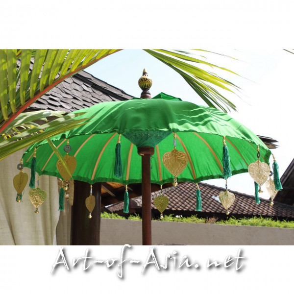 Bild 2 - Bali-Tempelschirm, 090cm Ø, Vibrant Green / gold