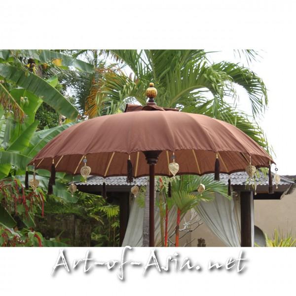 Bild 2 - Bali-Sonnenschirm, 180cm Ø, Deep Mahagony / gold