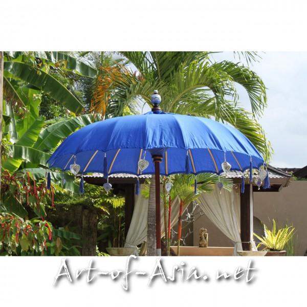 Bild 2 - Bali-Sonnenschirm, 180cm Ø, Dazzling Blue / gold