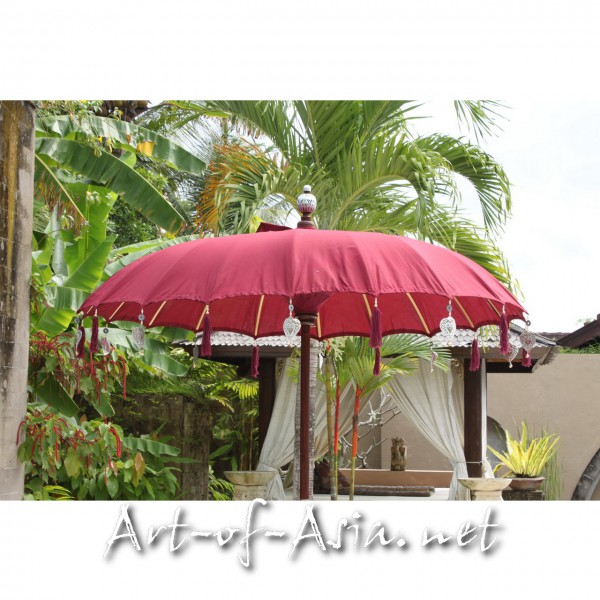 Bild 2 - Bali-Sonnenschirm, 120cm Ø, Deep Claret / silber