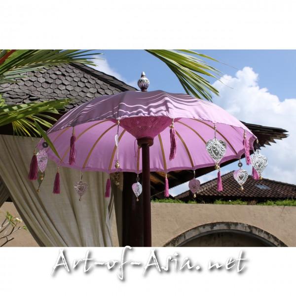 Bild 2 - Bali-Tempelschirm, 090cm Ø, Violet Tulip / gold
