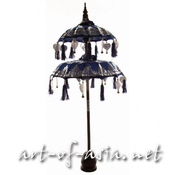 Bild 2 - Bali-Dekoschirm 2-fach, Dazzling Blue / silber, silber bemalt