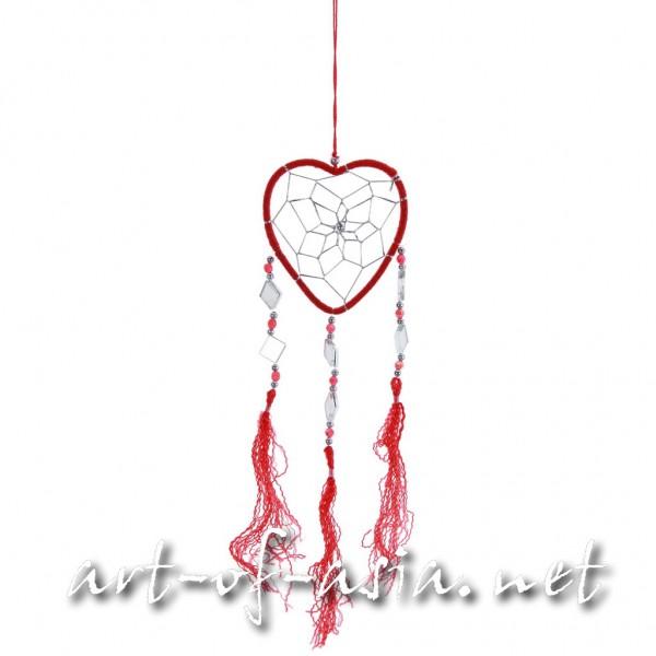Bild 2 - Traumfänger, Herz, verschiedene Größen, Chinese Red