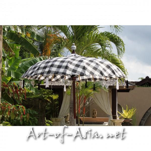 Bild 2 - Bali-Sonnenschirm, 180cm Ø, Black+White / silber