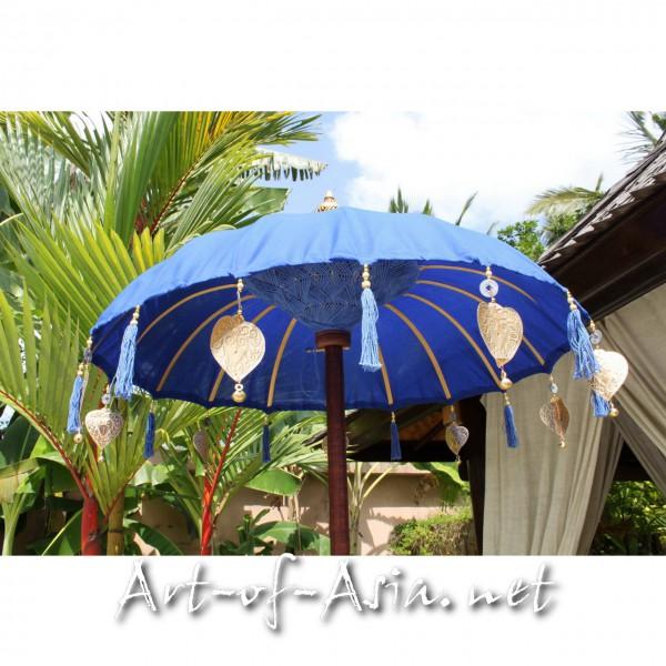 Bild 2 - Bali-Tempelschirm, 090cm Ø, Dazzling Blue / gold