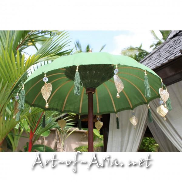 Bild 2 - Bali-Tempelschirm, 090cm Ø, Moss / silber