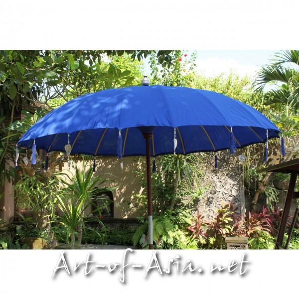 Bild 2 - Bali-Sonnenschirm, 220cm Ø, Dazzling Blue / gold
