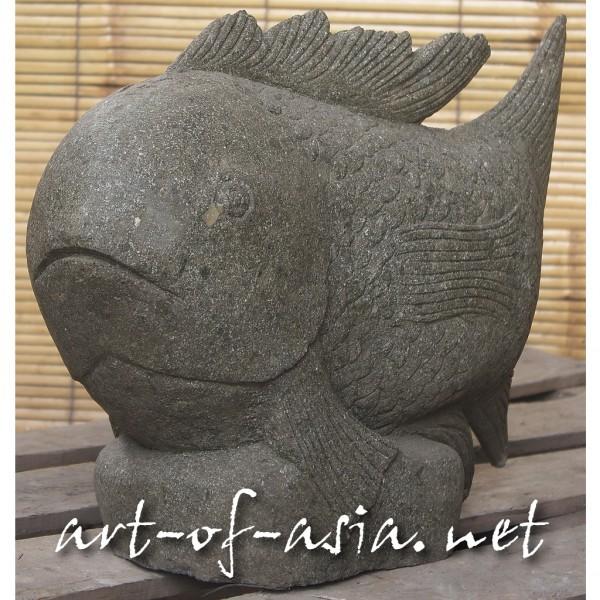 Bild 2 - Fisch, 053cm, grüner Lavastein, Kopf gerade