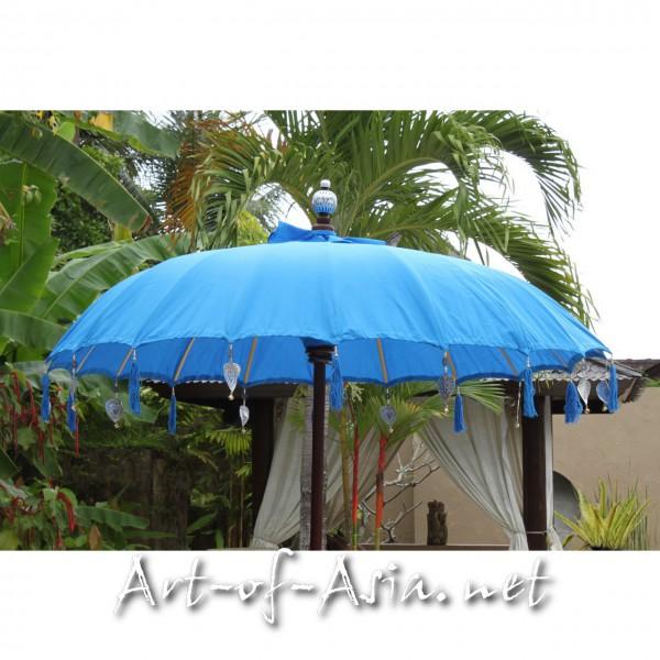 Bild 2 - Bali-Sonnenschirm, 180cm Ø, Azur Blue / gold