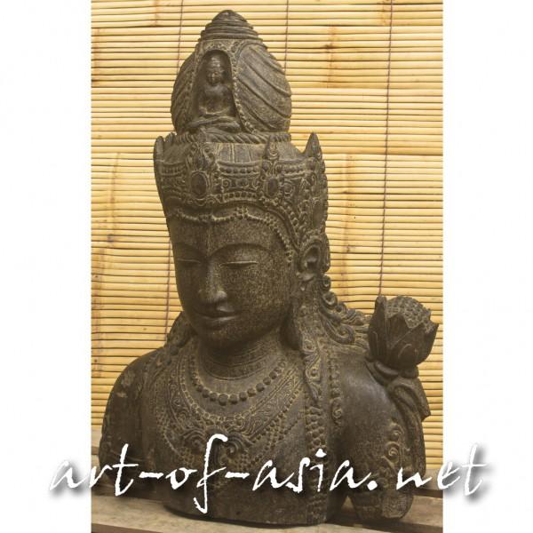Bild 2 - Dewi Kopf, 080cm, Flußstein, Antikfinish