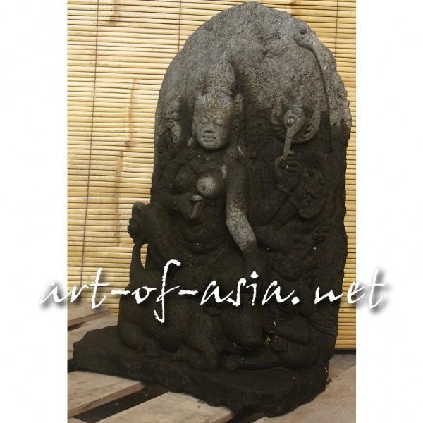 Bild 2 - Shiva, sitzend, 070cm, schwarzer Lavastein, mit Aureole