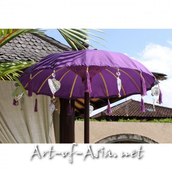 Bild 2 - Bali-Tempelschirm, 090cm Ø, Royal Purple / silber