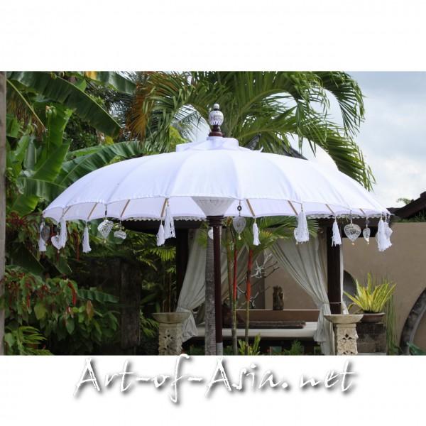 Bild 2 - Bali-Sonnenschirm, 180cm Ø, Blanc de Blanc bemalt / gold