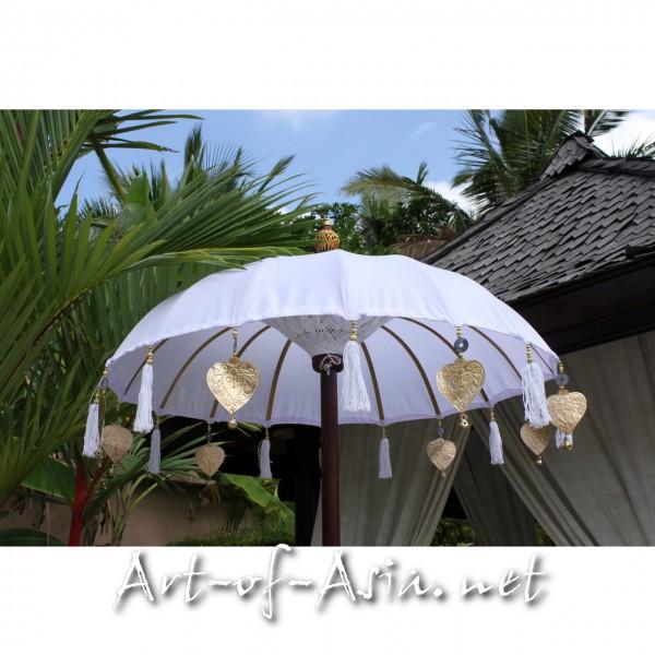 Bild 2 - Bali-Tempelschirm, 090cm Ø, Blanc de Blanc bemalt / silber