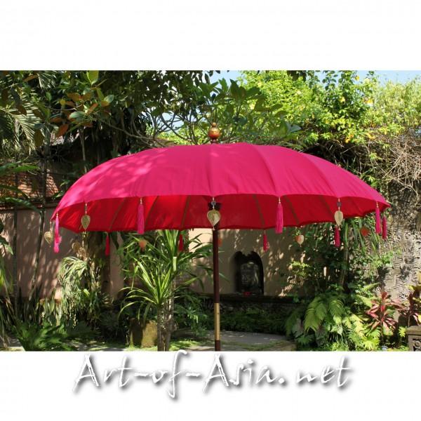 Bild 2 - Bali-Sonnenschirm, 220cm Ø, Rose Red / silber