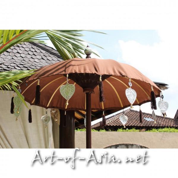 Bild 2 - Bali-Tempelschirm, 090cm Ø, Deep Mahagony / silber