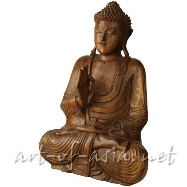 Bild 2 - Buddha, sitzend, 010cm bis 060cm, Suar-Holz, Radandrehungsgeste, rotbraun