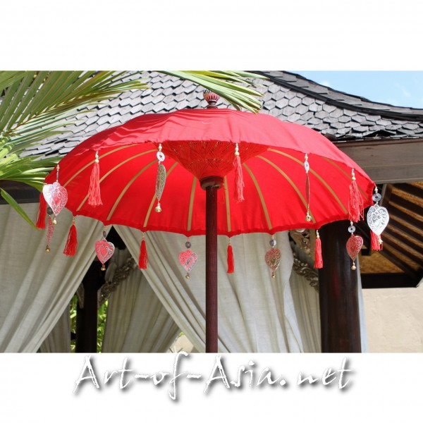 Bild 2 - Bali-Tempelschirm, 090cm Ø, Chinese Red / silber