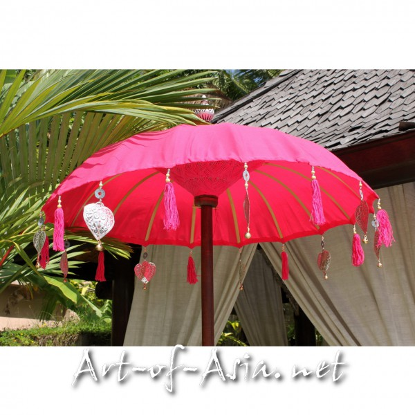 Bild 2 - Bali-Tempelschirm, 090cm Ø, Rose Red / silber